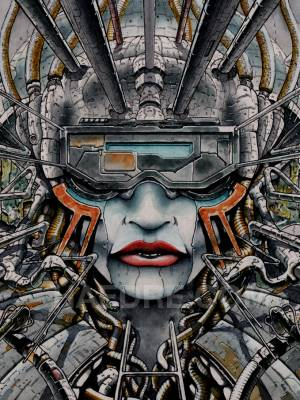The Techno-Duchesse: A watercolor cyberpunk illustration.