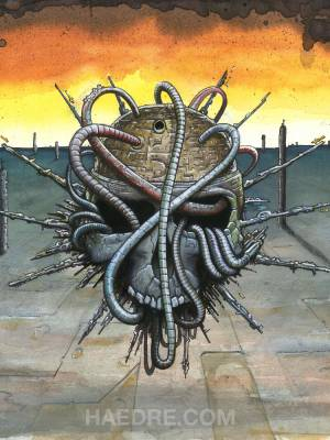 Watercolor artwork: Cyber skull III