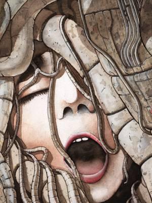 Hedonaeon: A watercolour cybergoddess.
