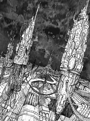 futuristic city drawing black white ballpoint pen, simon lejeune art, cybercity, haedre